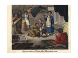Kachin Family in Gher Making Butter Giclee Print