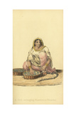 Indian Girl Stringing Flowers for Wreaths Giclee Print