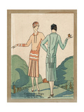 Two Women in Cloche Hats and Two-Piece Suits, 1926 Giclee Print