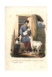 A Shepherd and Baby with Dog and Young Goat Giclee Print by Louis Lassalle
