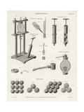 Pneumatics- Freezing Apparatus, Condensers, Gauges, 18th Century Giclee Print by J. Farey