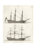 Rigging Plans for Sailing Ships, 18th Century Giclee Print by J. Glover