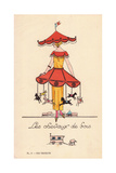 Woman in Merry-Go-Round Costume Giclee Print