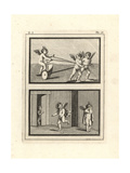 Two Vignettes of Cupids or Genii Playing Ancient Games Giclee Print by Tommaso Piroli