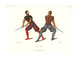 Swordfight by Fencers with Two-Handed Swords, 16th Century Giclee Print by Jakob Heinrich Hefner-Alteneck
