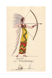 Woman in Fancy Dress Costume as Native American, L'Indienne Giclee Print