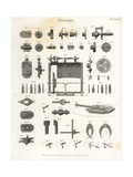 Lathe Turning Equipment, Bits and Machinery, 19th Century Giclee Print by Wilson Lowry