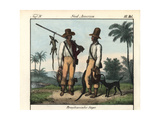 Brazilian Slaves with Hunting Dogs and Muskets Giclee Print