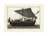 Anglo Saxon Ship with Sails Giclee Print by Robert von Spalart