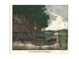 American Post Service with Carriage and Four Horses, 19th Century Giclee Print by R. Weibezahl