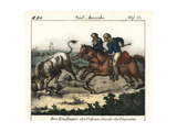 Cowboys (Vaquieros) of Brazil Herding Cattle with Sticks and Dogs Giclee Print