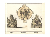 Statues of Hindu Gods Brahma, Vishnu and Shiva Giclee Print