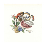 Elf Flirting with a Fairy on a Rose Bloom Giclee Print by Richard Doyle