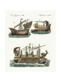Phoenician Merchant Ship, Warship, and Floating Castle of King Hiero Giclee Print
