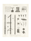 Telegraph Equipment, Alphabet, and Machinery, 19th Century Giclee Print by J. Farey
