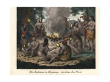 Native American Men and Women of Virginia Worshipping Fire Giclee Print