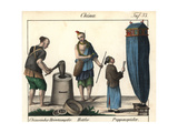 Costumes of China: Rice-Pounder, Beggar and Puppeteer Giclee Print