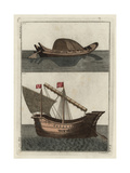 Ancient Egyptian Boat and Phoenician Vessel Giclee Print by Robert von Spalart