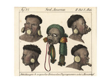 Heads of Botocudo Men from Eastern Brazil, and Mummified Head Giclee Print