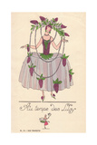 Woman in Fancy Dress Costume as Lilac Flowers, Au Temps Des Lila Giclee Print