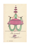 Woman in Parasols Fancy Dress Giclee Print