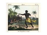 Sango Man Dancing in Front of Seated Audience in the Congo, Africa Lámina giclée