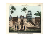 French Explorers Visiting a Morai (Temple) on Oweihi (Hawaii) Giclee Print