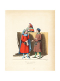 Italian Merchants and Judicial Notary, 14th Century Giclee Print by Paul Mercuri