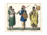 Indian Farmer with Rifle, Woman with Baby, Monk in Saffron Robes Giclee Print