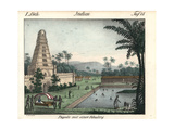 Indian Temple with a Water Garden Giclee Print by R. Weibezahl