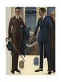 Men's Two-Button, Single-Breasted Suits in Sack, 1920s Giclee Print