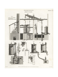 James Watt's Single-Acting Steam Engine, 18th Century Giclee Print by J. Farey
