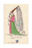 Woman in Old Manor Medieval Costume Giclee Print