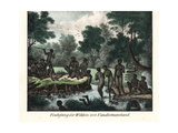 Extinct Palawa or Palervar Aborigines Fishing in a River, Tasmania Giclee Print