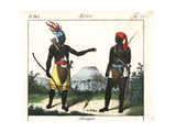 Chagga Warriors of Tanzania with Weapons Giclee Print