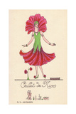 Woman in Fancy Dress Costume as a Pink Carnation of Nice Giclee Print