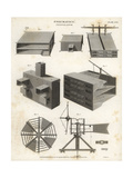 Pneumatics Ventilator, Section and Plan, 18th Century Giclee Print by J. Farey