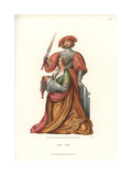 Kneeling Woman with a Knight in Armor Standing Behind Her Giclee Print by Jakob Heinrich Hefner-Alteneck