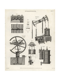 Hornblower's, Cartwright's and Woolf's Steam Engines Giclee Print by J. Farey