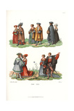 Luxurious Fashions of the Nobility of Augsburg, Early 16th Century Giclee Print by Jakob Heinrich Hefner-Alteneck