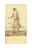 Indian Woman Preparing Thread for the Loom Giclee Print