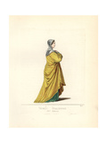 Costume of an Italian Noble Woman, 14th Century Giclee Print by Paul Mercuri