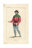 French Royal Gardener in Work Wear, 14th Century Giclee Print by Leopold Massard