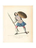 Italian Foot Soldier with Pike and Shield, 15th Century Giclee Print by Paul Mercuri