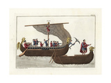 Anglos Saxon Sailing Ship and Boat Used by Harold Earl of Kent Giclee Print by Robert von Spalart