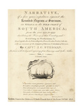 Calligraphic Title Page with Vignette of Slave Ships at Sea Giclee Print by John Gabriel Stedman
