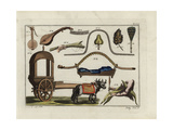 Indian Cart, Palanquin, Musical Instrument, Books, Fans, Etc Giclee Print by Robert von Spalart