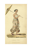 Burmese Woman with Umbrella Giclee Print