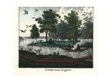 Australian Aborigines Paddling a Canoe, Others Hunt on the Riverbank Giclee Print