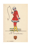Woman in Lion Tamer Costume Giclee Print